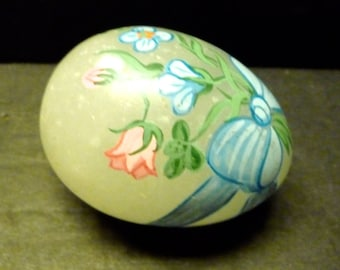 Glass egg, clear glass egg with beautiful soft floral hand painted design