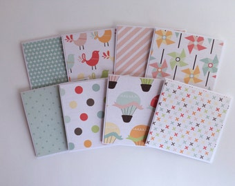 8 Mini Notecards, Spring Notecards, Pen Pal Cards, Mini Stationary, 3x3 Cards and Envelopes, Blank cards, Happy Stationary, Colorful Cards