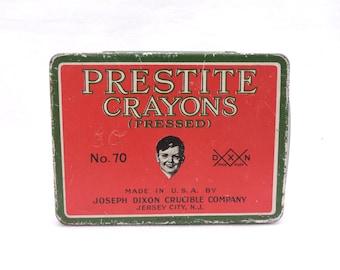 Vintage Prestite Crayons Tin - 1940's Metal Crayon Tin