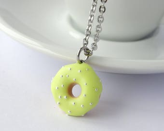 Miniature cute yellow icing donut with sprinkles charm necklace pendant kawaii sweet silly food jewelry pastel yellow