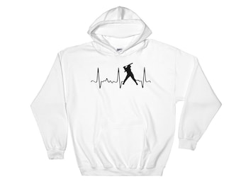 Cute Softball Hoodie - Softball Mom Hoodie - Softball Mom Gear - Black Softball Heartbeat - Softball Dad Hoodie - Fun Softball Sweatshirt