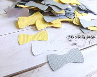 Baby Shower Decoration, Bow Tie Confetti, Gray Yellow White, Its A Boy, Little Man Party Idea, Wall Decor, First Birthday, 1inch Set of 200