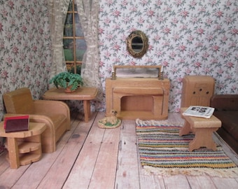 Wood Dollhouse Furniture - Nancy Forbes Partial Living Room - 1940s
