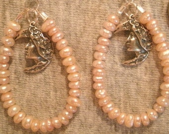 Pink Freshwater Pearl and Sterling Silver Moon Goddess Charm Earrings