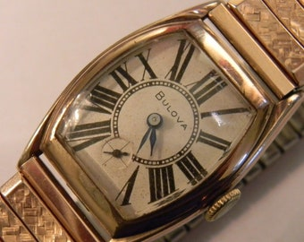 Vintage Bulova Art Deco style watch from 1933 - rose gold plated, recently serviced, perfect gift for dads and grads
