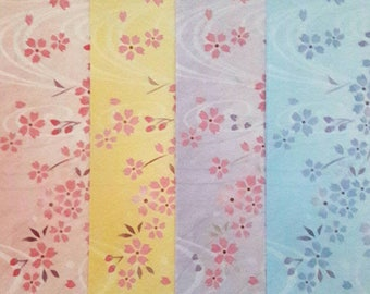 20 sheets Japanese paper origami, cherry blossoms sakura, 4 colors, 15 x 15 cm / 70 g