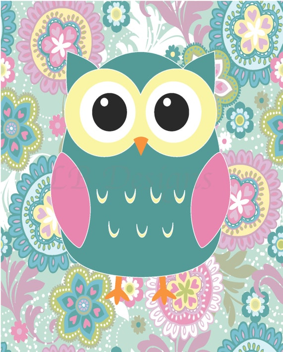 Girly Pink Nursery Decor: Girl Woodland Nursery Print Girl Owl Nursery Decor Girl
