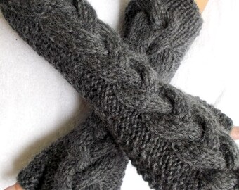 Grey Fingerless Gloves  Angora Mohair Mittens Cabled Hand Knitted Extra Soft and Warm