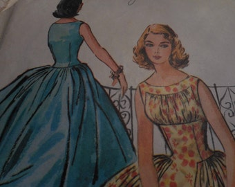 Vintage 1950's McCall's 4008 Dress Sewing Pattern, Size 13, Bust 33