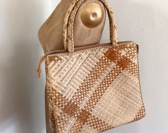 Vintage straw bag, woven purse,  boho purse, market bag, shoulder boho bag, woven shoulder bag, vintage woven purse