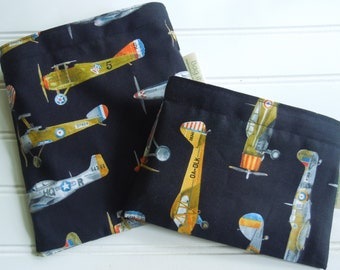Reusable sandwich bags - Reusable snack bag - Gender neutral sandwich bags - Zero waste lunch bags - Boys sandwich bags - Vintage airplanes