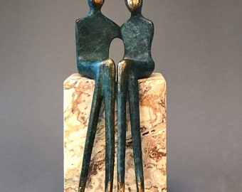 Eternal Love | original bronze sculpture with textured finish in blue with shiny golden highlights | renew your vows with an unusual present