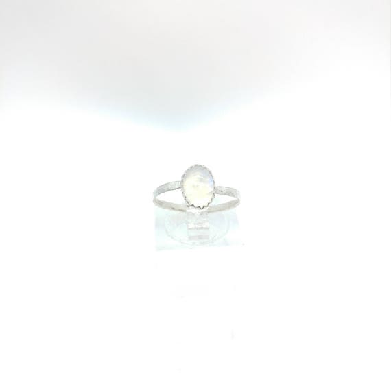 Simple Moonstone Ring | Rainbow Moonstone Ring | Sterling Silver Ring Sz 7.25 | Simple White Ring | June Birthstone Ring | Blue Moonstone