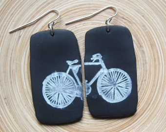 SALE Black bicycle bike light weight earrings, handmade jewelry by theshagbag on Etsy