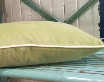 Green Velvet Decorative Christmas Pillow with ivory piping