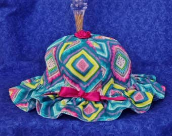 Baby Sunhat Teal and Pink with Chin Straps and a Bow