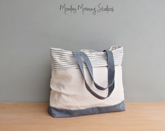 Handmade Linen and Canvas Tote Bag in Slate Grey, Large Summer Tote in Waxed Canvas and Striped Cotton Ticking, Womens Cuffed Vegan Tote