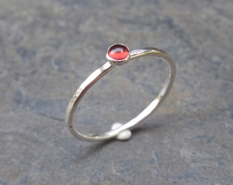 January birthstone ring - Red Garnet Skinny sterling silver ring, 1.2 mm ring, made at your size. Skinny ring, thin ring, stacking ring.