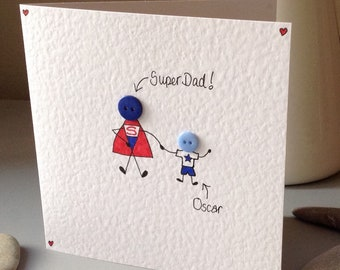 Personalised handmade button Superhero Superman Father's Day Dad's Daddy's Birthday Greetings Card - one boy