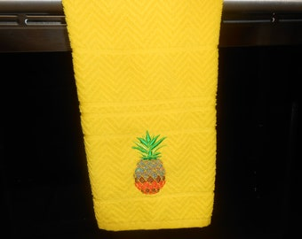 """Kitchen Towel with Embroidered Pineapple 25"""" x 16"""""""