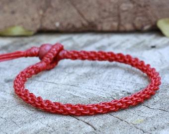 Simple Dark Red Woven Bracelet