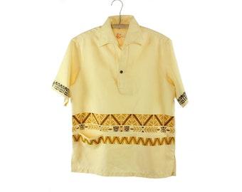 60s IOLANI Hawaiian Shirt Tiki Mask Yellow Cotton Short Sleeve Button Up Down Vintage 1960s Small S Medium