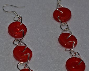 Button  Earrings, Sterling Silver wires