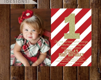 Red and Gold Glitter First Birthday Photo Invitation, Red Stripes, Gold First Birthday Invite, Red and Gold Invitation, Gold Glitter Invite
