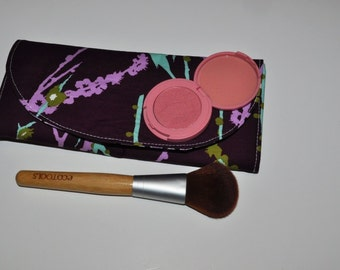 Purple Makeup Brush Organizer | Lilac + Plum Sparrow Print Brush Roll - Travel Makeup Accessory Gift - Gift for Her - Made to Order