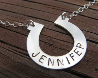 Horseshoe Stamped Sterling Necklace