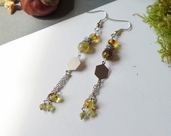 Green amber and Silver earrings