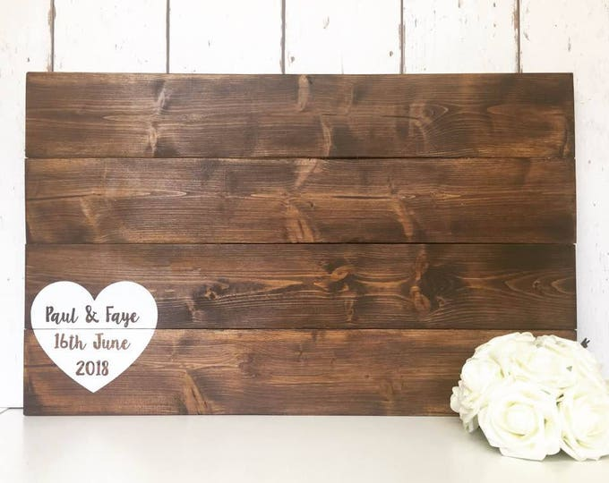Featured listing image: Wedding Guest Book   Alternative Guest Book   Wooden Guest Book   Pallet Sign   Rustic Wedding   Personalised Guestbook   Wooden Guestbook