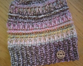 Handmade messy bun hat in shades of pink and brown