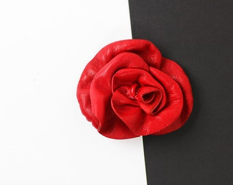 Leather Brooch/Flower Leather Brooch/Red Leather Brooch/Red Rose Leather Pin/Rose Brooch – Rose02