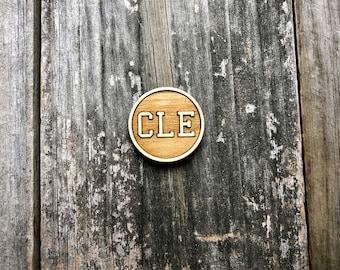 """Cleveland Ohio """"CLE"""" Wood Magnet"""