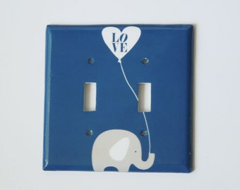 Elephant Switchplate Cover - Elephant Nursery Room - Light Switch Cover - Single Toggle Switch - Rocker Cover