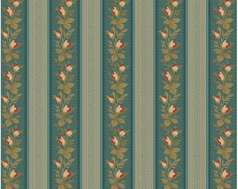 By The HALF YARD - The Yorktown Collection by Sara Morgan for Blue Hill, Pattern #8243-023, Floral Stripes on Teal