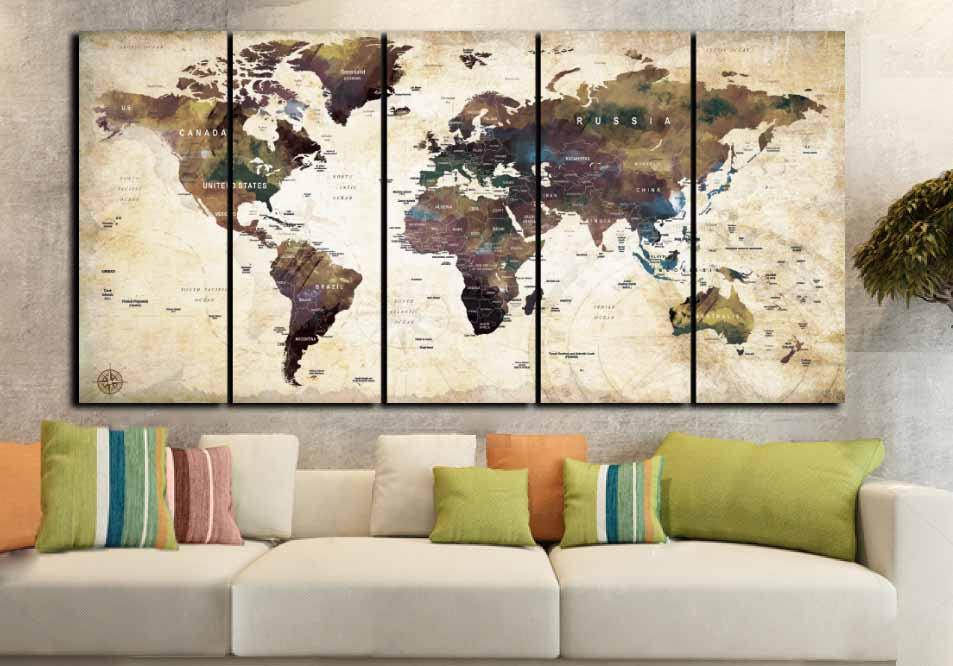 World Map Wall Art,Large World Map,World Map Vintage,World Map ...