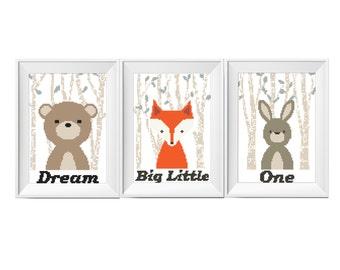 Nursery Cross Stitch Pattern Set 3in1 Dream Big Little One Woodland Animals Room Decor Rabbit Bunny Bear Fox Download Printable PDF Counted