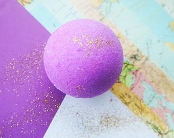 Luxury bath bomb, bath fizzy, bath ball, purple bomb, glitter bath bomb, moisturising bath bomb