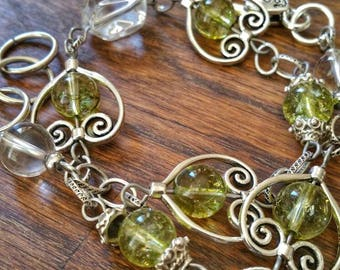 Peridot and rock crystal bracelet, silver metal: powerful stone of acceptance and self-esteem recovery