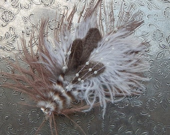 Brown and White Ostrich Feather Hair Clip
