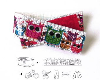 OWLS - reflective leg strap to bike - bicycle accessories kawaii Scapes Reflex Ribbon - handmade by 44spaces