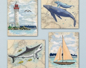 Set of Four (4) Out At Sea - Ocean/Nautical Art Prints. Perfect decoration for ocean/sea/pirate themed bedroom