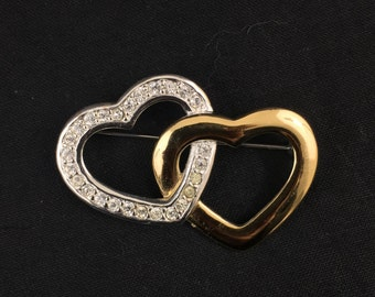 Monet gold tone and silve rtone heart brooch with crystals - valentine