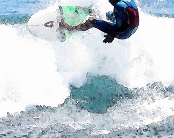 Watercolor Zuma Beach Surfers Pacific Ocean Surf Surboard Waves Fine Art Action Photograph Print Photography Digital Painting