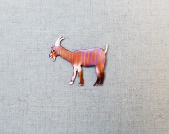Flame painted copper Billy goat, pin