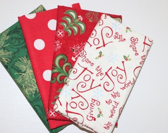 Christmas - 4 Fat Quarters - red, green, gold - cotton fabric