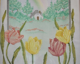Framed Cottage Floral Cross Stitch, 16x20 Oak Frame, Tulips Rainbow Country Cottage Needlework Embroidery Picture, Farmhouse Chic Wall Art