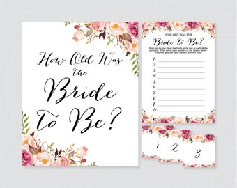 How Old Was the Bride To Be Game - Printable Pink Floral Bridal Shower Game - Guess the Bride's Age, How Old Was She - Rustic Pink 0024